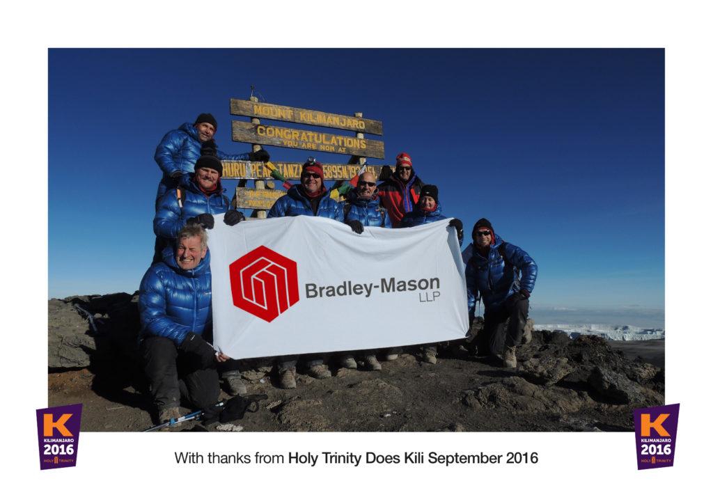 Bradley Mason Commercial surveyor sponsoring kilimanjaro team