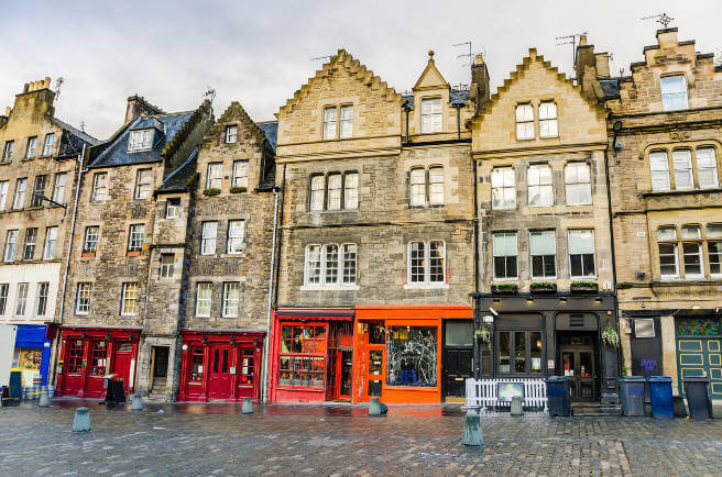Town Houses with Colourful Shops in Edinburgh